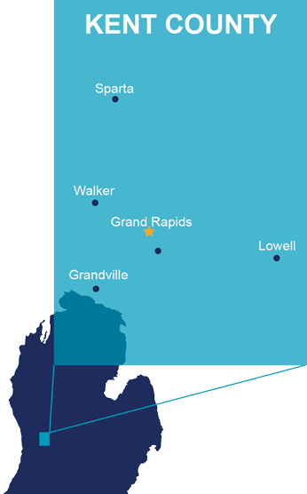 Map of centers: Grand Rapids, Grandville, Lowell, Sparta, Walker