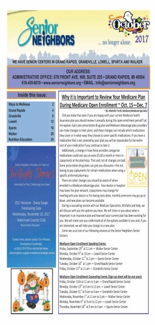 October 2017 Senior Center Newsletter