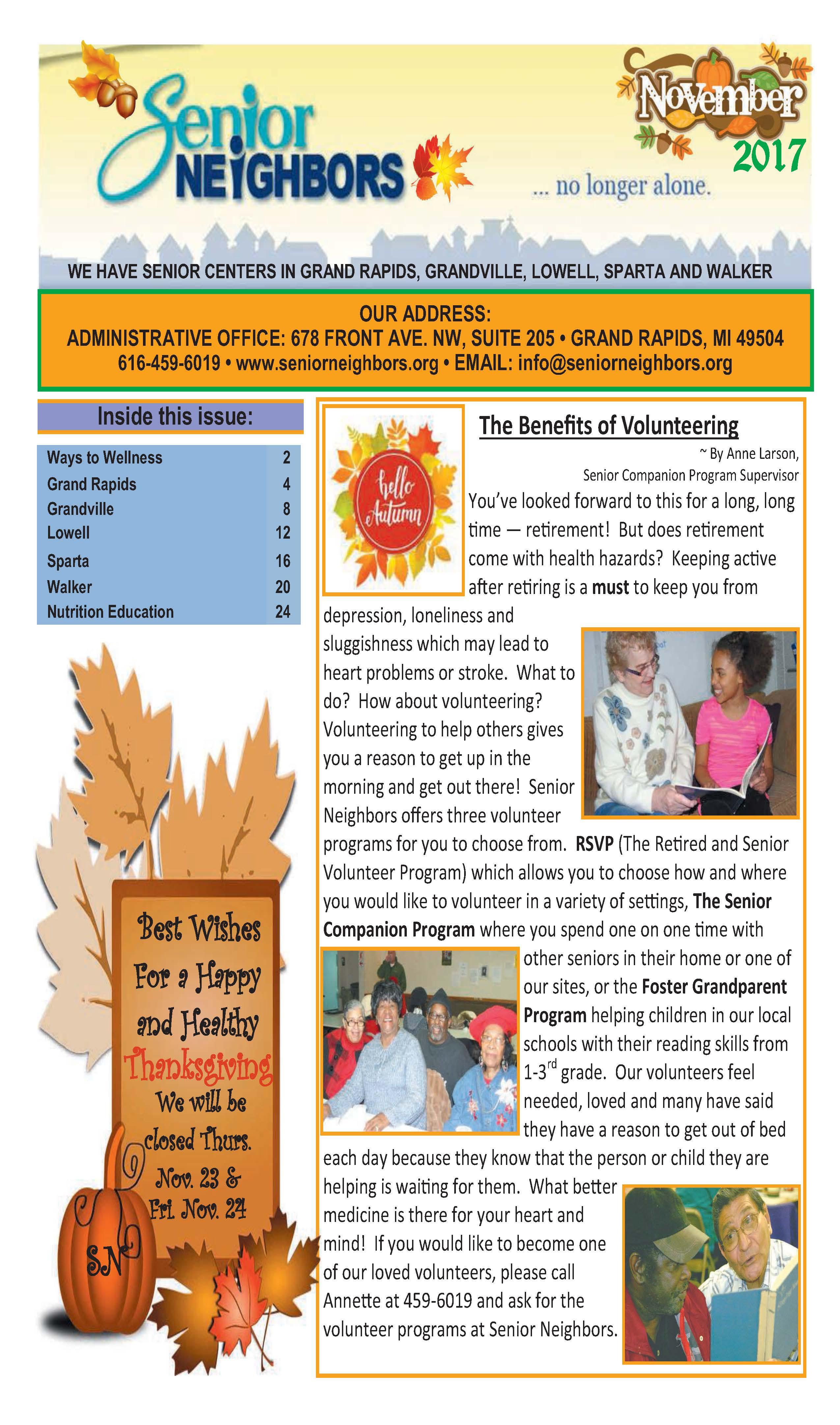 November 2017 Senior Center Newsletter