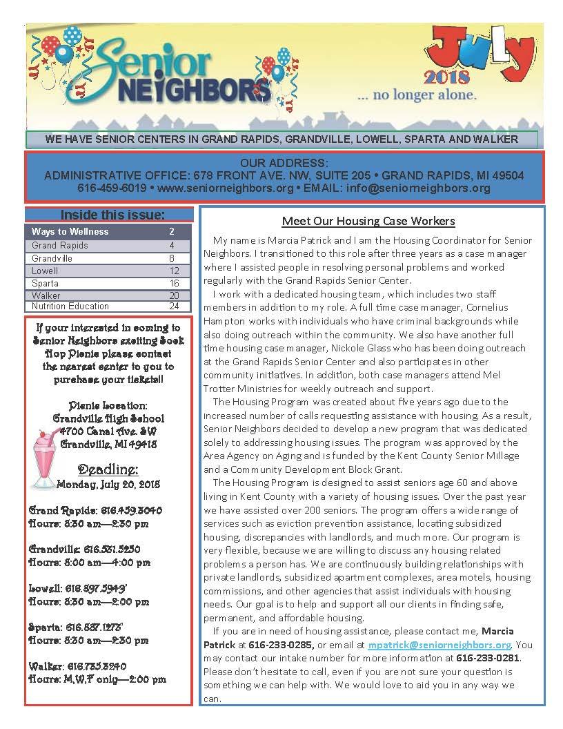 July 2018 Senior Center Newsletter