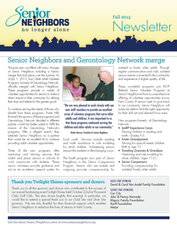 Fall 2015 Senior Neighbors Newsletter
