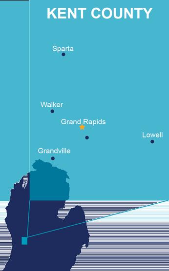 Map of centers: Grand Rapids, Grandville, Lowell, Sparta, Walker