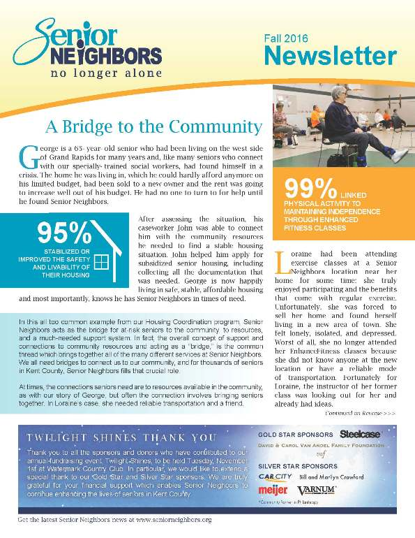 Fall 2016 Senior Neighbors Newsletter