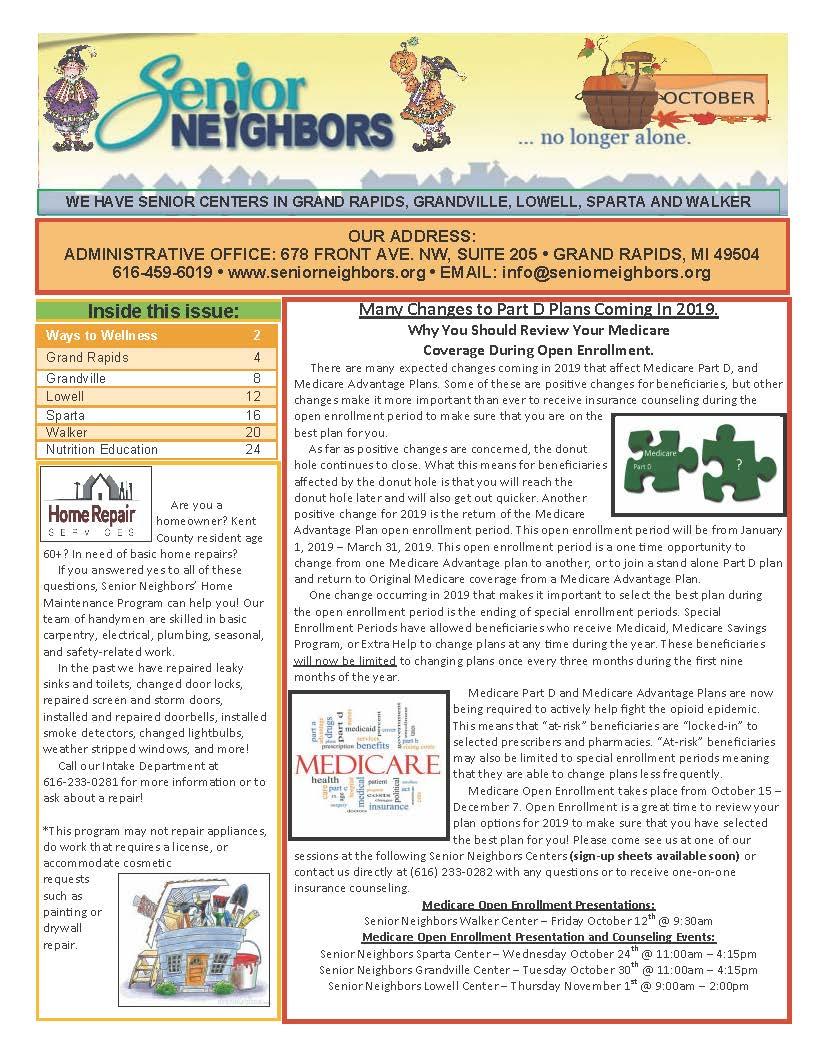 October 2018 Senior Center Newsletter