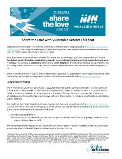 Subaru Share the Love Event 2020 Senior Neighbors Newsletter