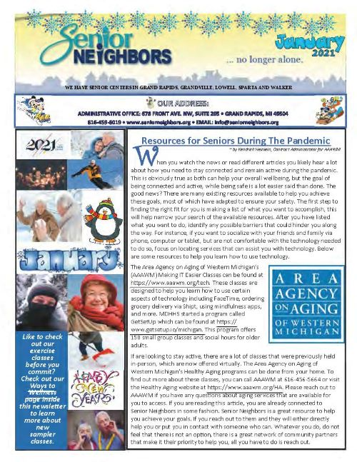 January 2021 Senior Center Newsletter