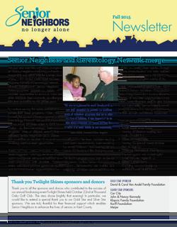 Fall 2015 Senior Neighbors Newsletter